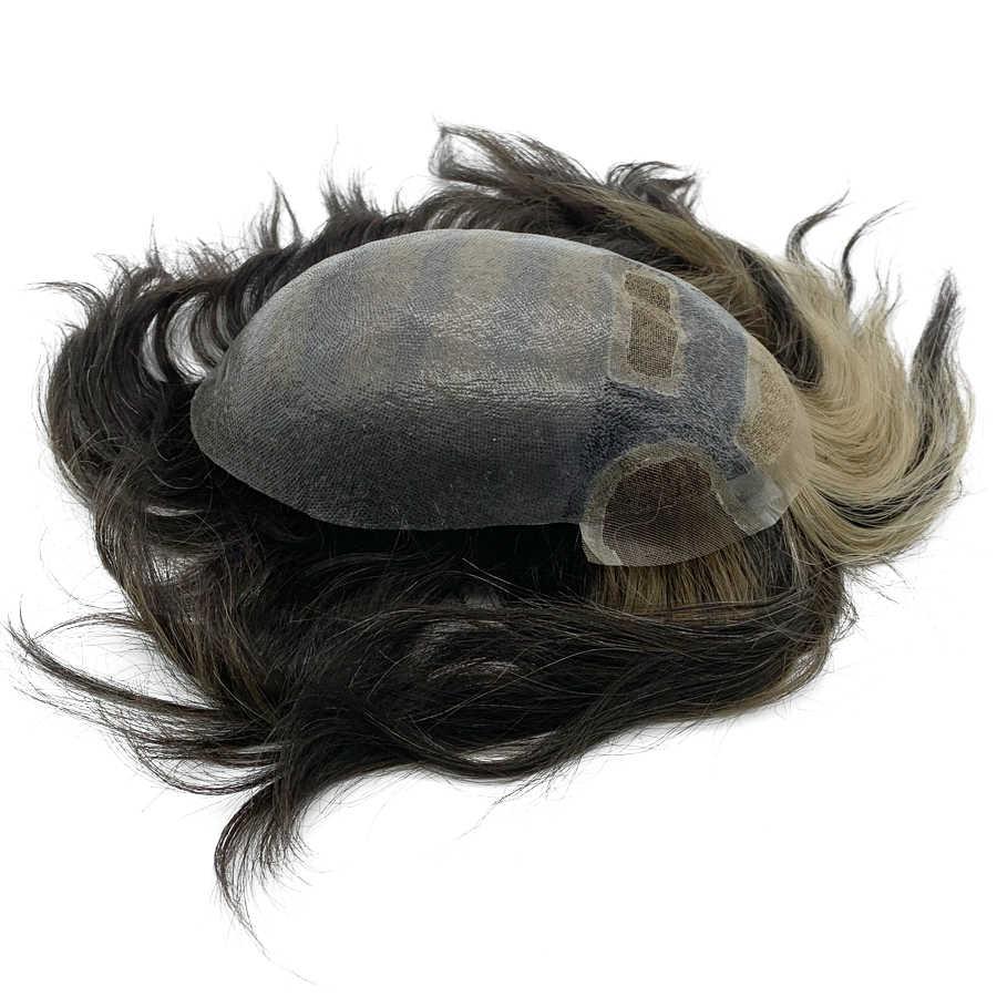 Reemplazo popular del pelo del cordón de los hombres del color T hecho a medida para el tupé de los hombres