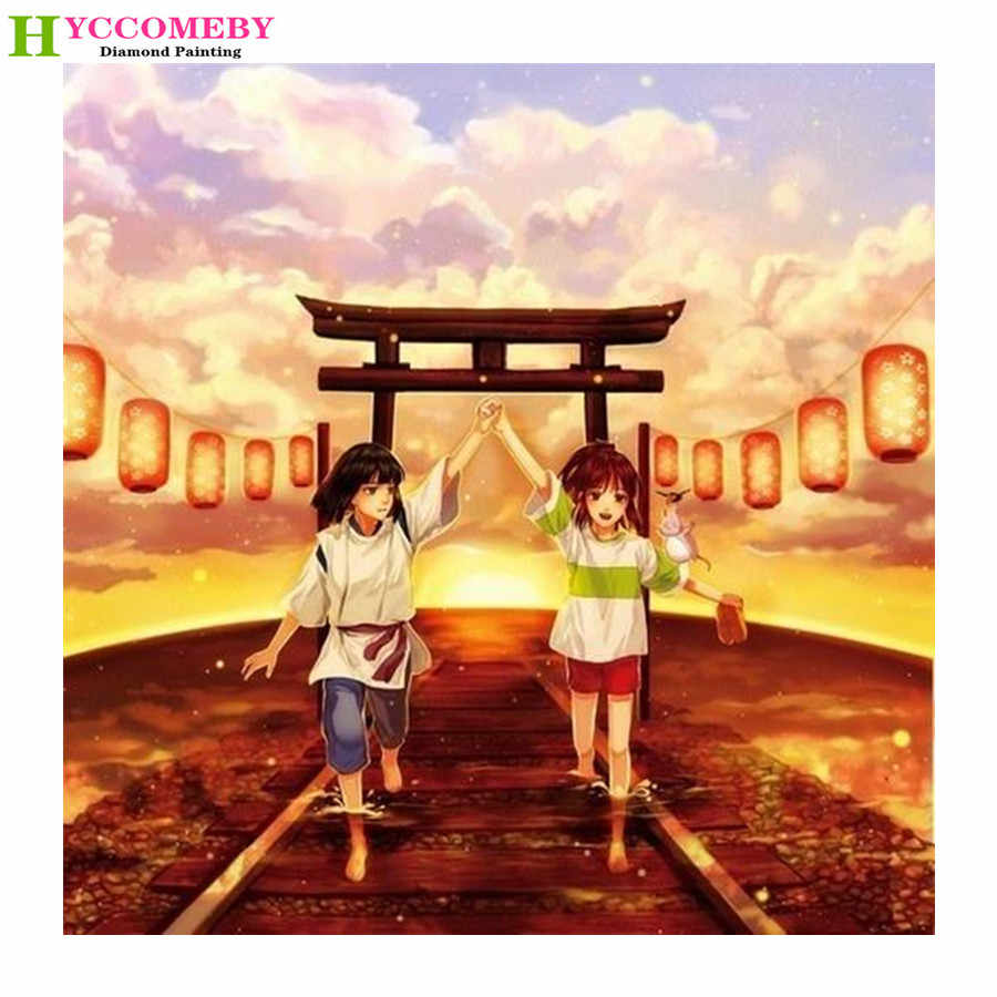 Jepang Anime Spirited Away Diamond Lukisan DIY Full Round Square Diamond Bordir Mosaik Cross Stitch Dekorasi Hadiah