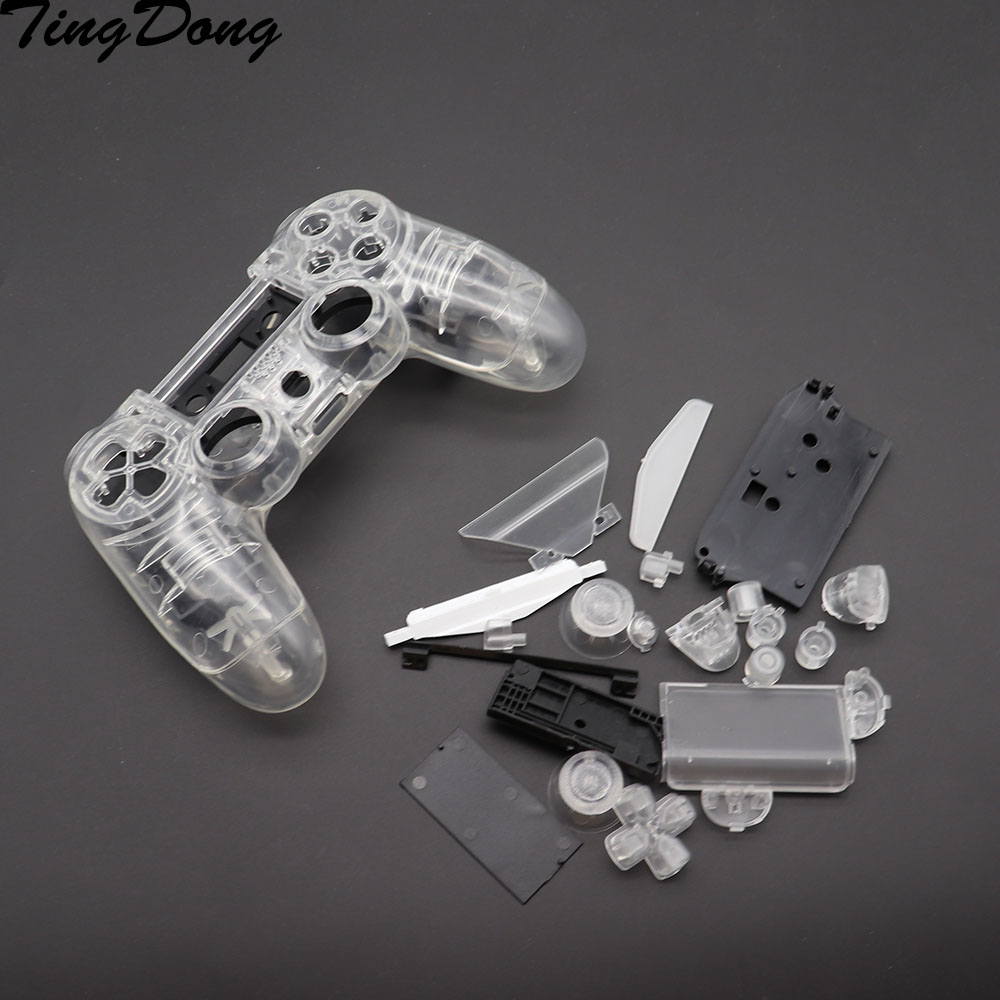 <font><b>PS4</b></font> V1 Controller Custom Clear Transparent Housing Shell Cover <font><b>Case</b></font> Repair Mod Kit For Sony Playstation 4 PS 4 Limited Edition image