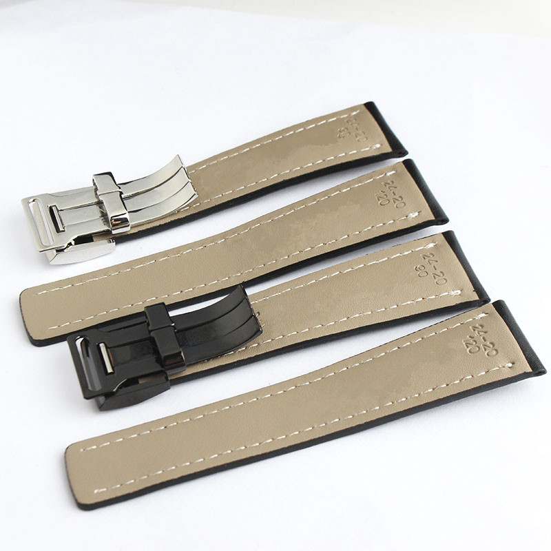 18-19-20-22--24MM LEATHER BAND STRAP SMOOTH DEPLOY CLASP FOR ...