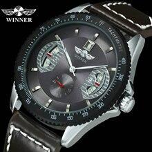 الفائز الرسمي التلقائي ساعة الرجال حزام من الجلد الرياضة رجالي ساعات العلامة التجارية الفاخرة ساعة اليد الأعمال الميكانيكية