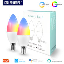 Tuya Smart Wifi LED Bulb E14, RGB Dimmable Light Bulb 4W, , Work with Alexa Echo Google Home Assistant, No Hub Required, 2 Packs