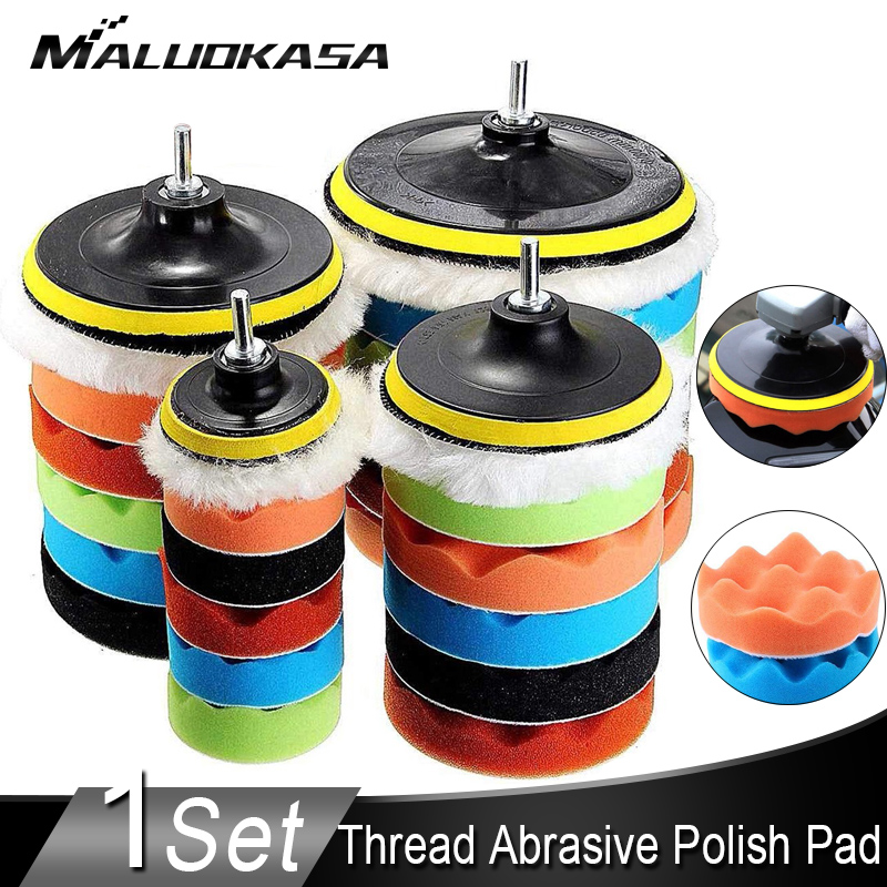 Buffing Pad 4''5''6''7'' Inch Car Sponge Polishing Pad Kit M10 M14 Thread Abrasive Polisher Drill Adapter Waxing Tools Accessory