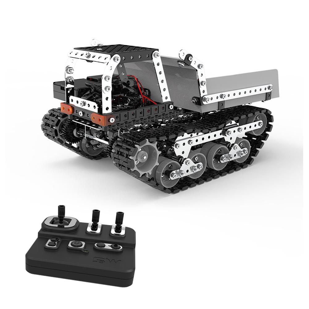 RCtown 934Pcs 2.4G 10CH RC Tracked Dump Truck DIY Stainless Steel Assembled Vehicle Metal RC Car Model Birthdaty Gifts