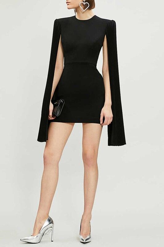 Short Sexy Evening Party Dress Extra Long Flare Sleeve Backless Bodycon Club Mini Dress Women Black Solid Elegant Dresses - 2