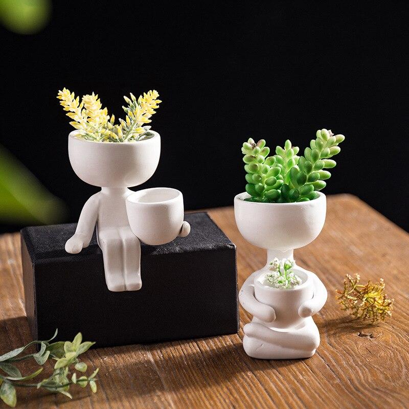 Creative Humanoid Ceramic Flower Pot Green Succulent Planter Plant Container