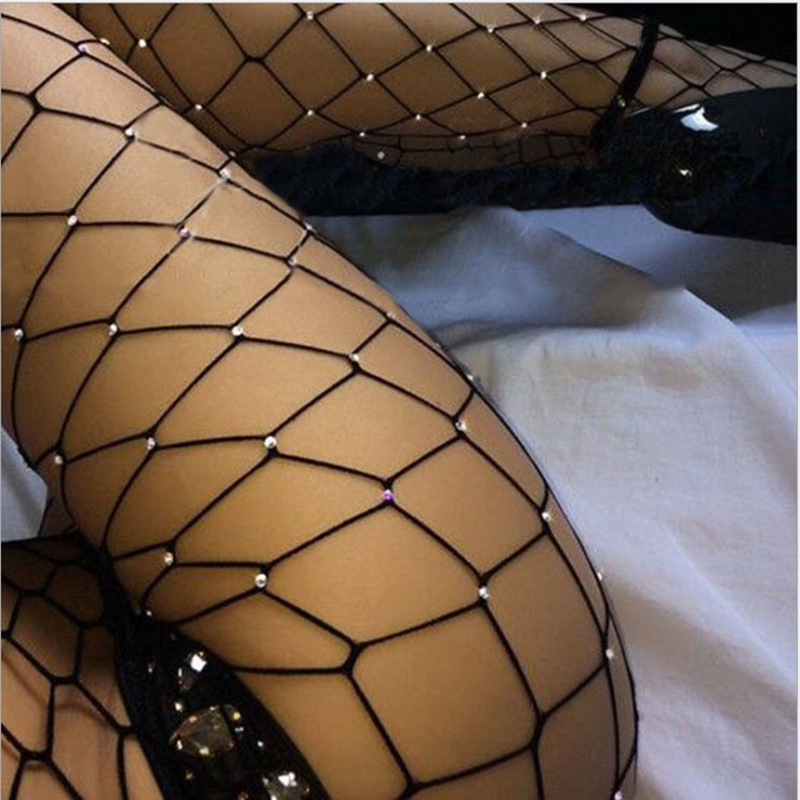 Hot Style Hot Drilling European And American Sexy Wind Hot Drilling Hand Hot Drilling Fishing Net Tights Fishnet Stockings