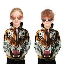 Manufacturers Direct Selling Spring And Autumn Tiger Head 3D Digital Printing Hooded Pullover CHILDREN'S Sweater focus on cross border fast selling oil paint snoopy digital printing 3d t shirt direct sale by foreign trade manufacturers