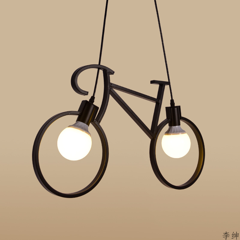 Nordic Retro LED Chandelier Lights Living Room Iron Bike Moderna Chandeliers Luminaria Industrial Lighting Loft Decor Hanglampen