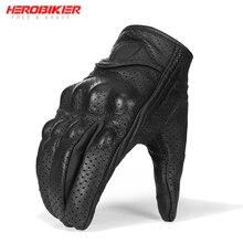 HEROBIKER перфорированные мотоциклетные перчатки из натуральной кожи летние дышащие Мотоциклетные Перчатки защитные шестерни перчатки для мотокросса