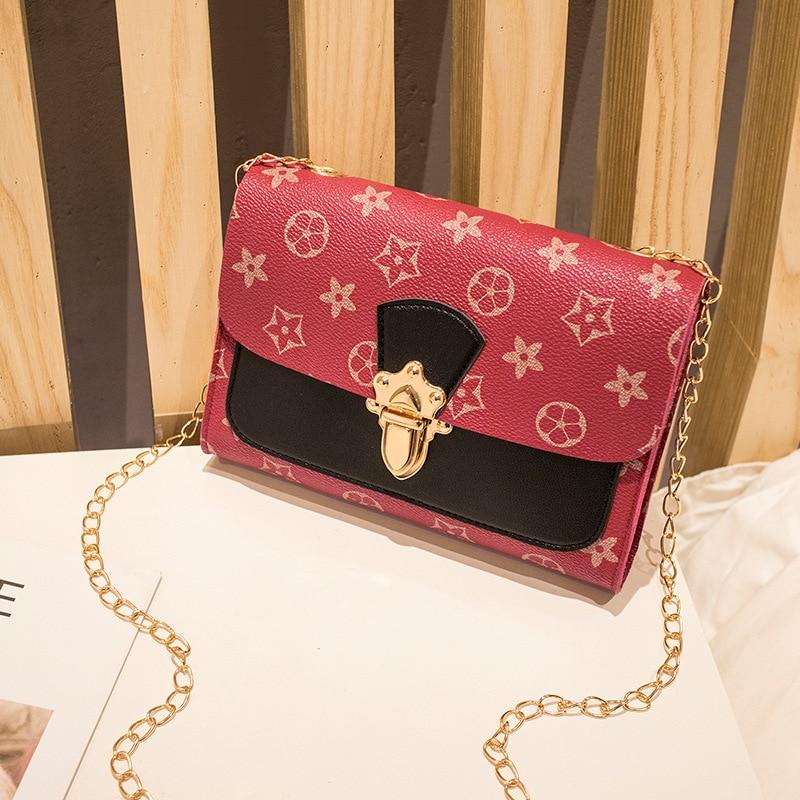 New printed lock bag Fresh multi-color Pu chain single shoulder slant across mobile phone bag Small square bag