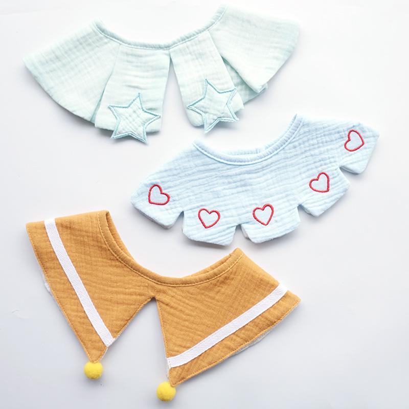 3pcs Set Ins Nordic Style Baby Bib Cotton Gauze Infant Baby Burp Cloth Saliva Towel Embroidery Fake Collar Decorative Aaccessory