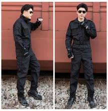 Camisa y pantalones de uniforme del ejército negro para hombre, buena calidad, campo de trabajo de seguridad, entrenamiento militar, acampada y escalada