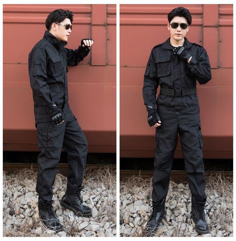 Cool buena calidad negro ejército uniforme camisa y pantalones para hombres seguridad trabajo campo militar entrenamiento Camping escalada envío gratis