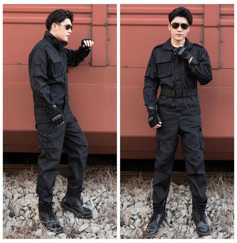 Fajne dobrej jakości czarny mundur wojskowy koszula i spodnie dla mężczyzn bezpieczeństwo pracy pole trening wojskowy Camping wspinaczka darmowa wysyłka