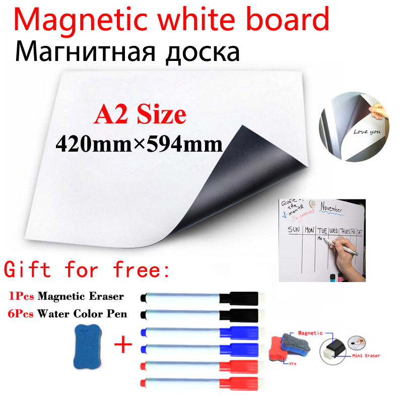A2 Size Magnetic School White Board Fridge Magnets Wall Stickers Whiteboard For Kids Home Office Dry-erase Board White Boards