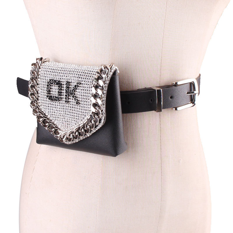 Mini Bling Rhinestone Waist Packs Women Detachable PU Leather Waist Belts With Bag Money Coin Handbag Ladies Flap Fanny Packs