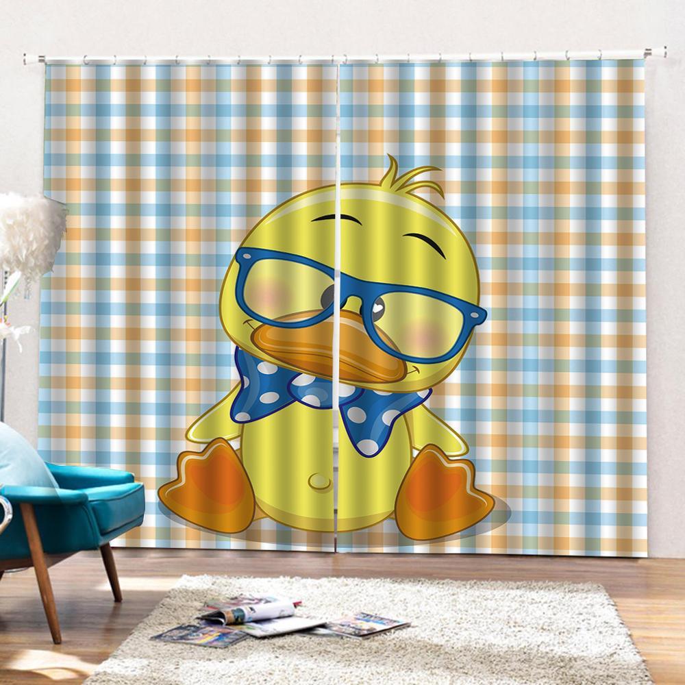 Personalizado 3D Impressão Dos Desenhos Animados pato amarelo Moderna cortinas blackout para sala de estar quarto cortinas Decoração Interior - 3