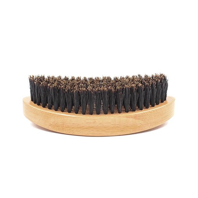 Men's Beard Brush Boar Hair Bristle Beard Brush Round Wood Shaving Comb Face Massage Handmade Mustache Brush Beauty Care G0118 3