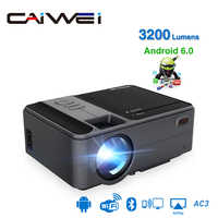CAIWEI inteligente WiFi Bluetooth Android portátil pequeño Mini proyector soporte de Video HD de cine en casa cine Heimkino HDMI VGA Beamer
