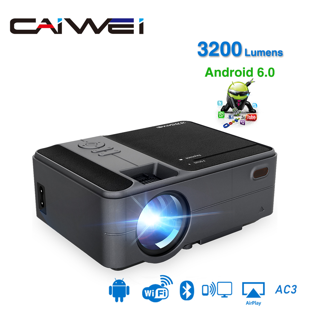 Caiwei inteligente wifi bluetooth android portátil pequeno mini projetor suporte hd vídeo cinema de cinema em casa heimkino hdmi vga beamer