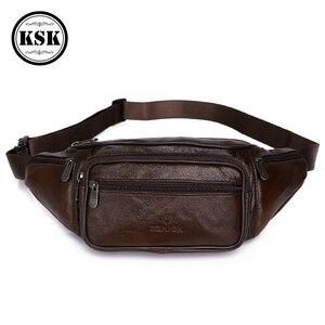 Image 2 - Men Waist Pack Genuine Leather Bag Waist Belt Bag Leather Fanny Pack For Men 2019 Fashion Luxury Male Small Shoulder Bags KSK