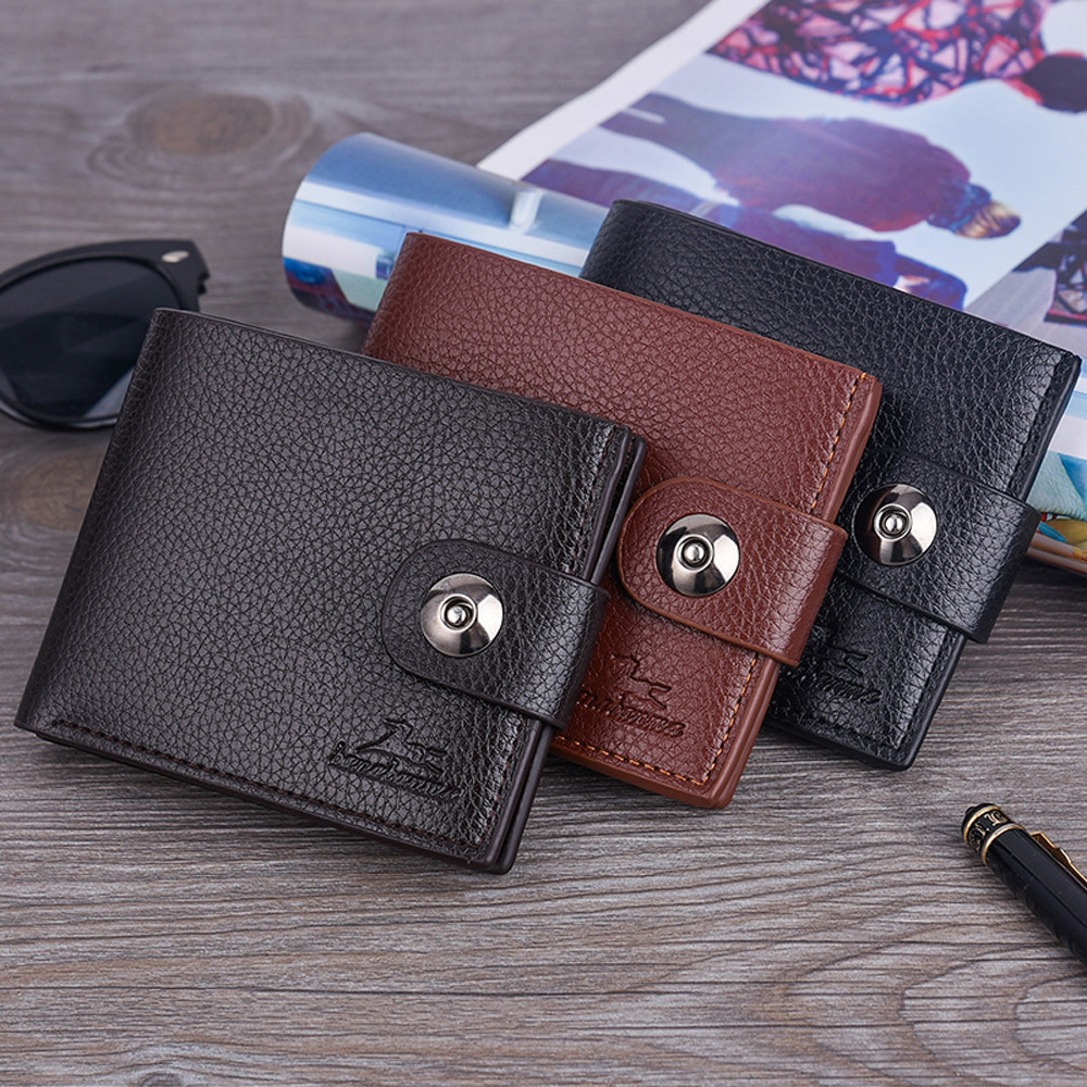 Men Solid Color Vintage Hasp Lichee Pattern Multi Card Position Holder Allet Bag Holder Carteira Portfel Purse кошелек мужской