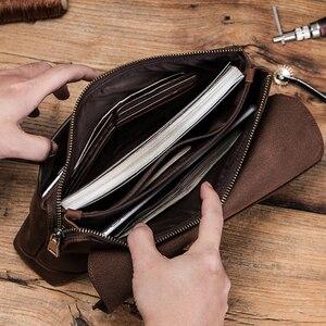 Image 4 - CONTACTS cartera de mano de gran capacidad para hombre, bolso largo de cuero de Caballo Loco, multifunción, para pasaporte