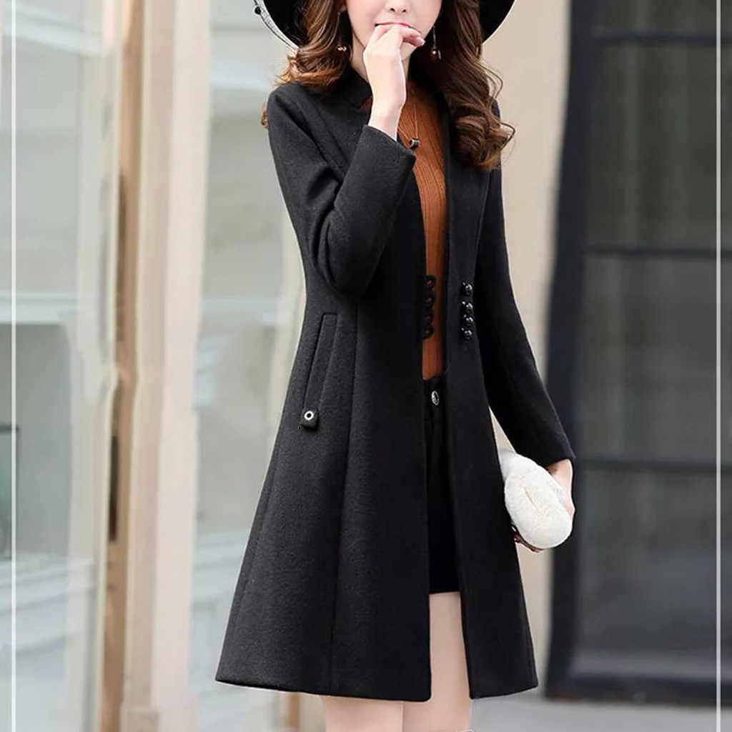 冬コートの女性のファッションスリムコート女性長袖カジュアルミディアムロングスリムコートウールブレンド女性のコートモーダ feminina