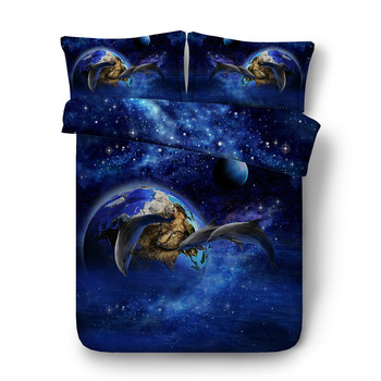 3D Oil Blue Universe Outerspace Jumping Dolphin Animal Bedding Sets Queen King  Size Outer Space Blue Dolphin Duvet Cover Sets