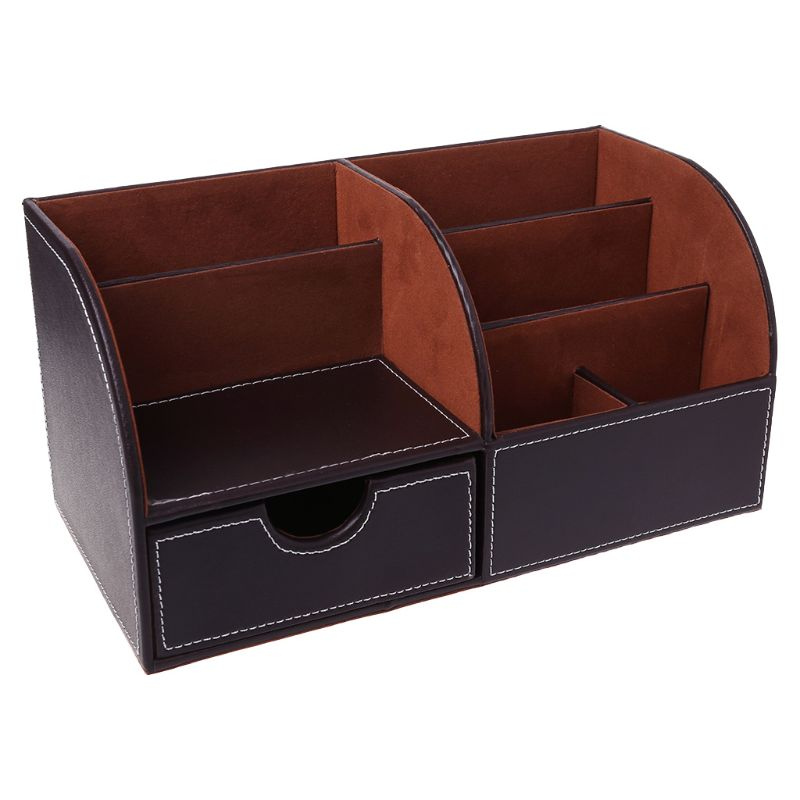 7 7 Storage Compartments Multifunctional Leather Office Desktop Organizer Business Card Pen Pencil Mobile Phone Holder Storage