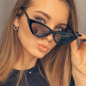 New Sexy Cat Eye Sunglasses Women Brand Designer Mirror Black Triangle Sun Glasses Female Lens Shades for Ladies Eyewear UV400