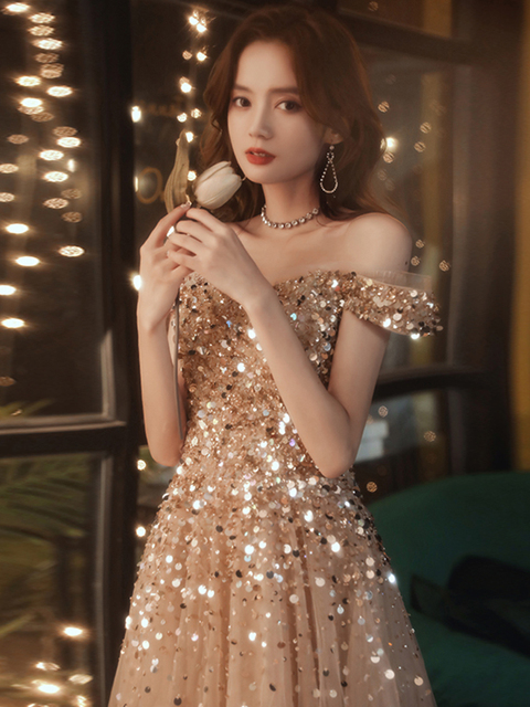 Sexy Spaghetti Straps Sparkle Prom Dresses Long 2020 V-neck A-line Floor-length Sequined Women Formal Gowns For Evening Party 3