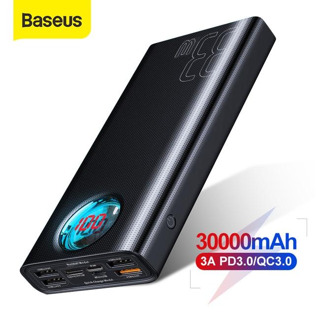 Baseus 30000MAh Power Bank Sạc Nhanh 3.0 USB PD Sạc Nhanh Dự Phòng Powerbank Di Động Gắn Ngoài Bộ Pin Cho Smartphone Laptop
