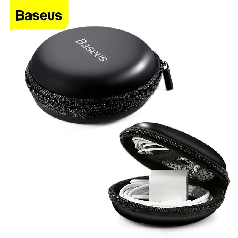 Baseus чехол для наушников Srorage Твердая Сумка Мини круглая коробка на молнии для SD TF карты кабель U диск флэш накопитель портативный чехол|Аксессуары для наушников|   | АлиЭкспресс