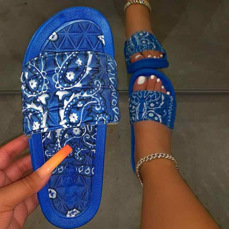 UK Women Tie-Dye Print Sandals Wedge Flip Flops Comfy Toe Ring Summer Slippers