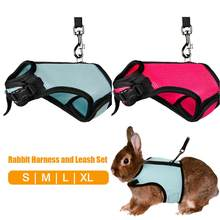 Coelho arreios e trela conjunto hamster colete arnês coelho malha cinta de peito arnês conjunto de trela para furão cobaia pequenos animais
