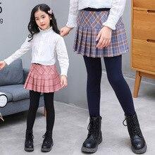 Girls Pants Two-Piece Skirt Leggings Cotton Children Autumn Plaid Fake Big New