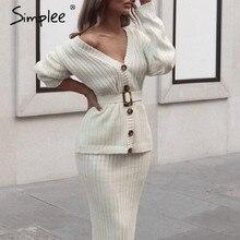 Simplee ผู้หญิงถักเสื้อกันหนาว Elegant ฤดูใบไม้ร่วงฤดูหนาว 2 ชิ้นชุดกระโปรงแขนยาวสีขาวหญิง Cardigan ชุด midi