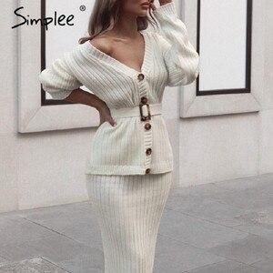 Image 1 - Simplee damski sweter z dzianiny sukienka elegancki jesienno zimowy dwuczęściowy spódnica garnitur biały kardigan damski z długim rękawem sukienki midi