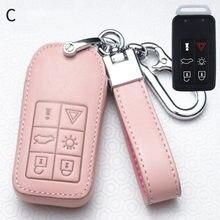 Leather Car Key Cover Case FOB for Volvo V40 V60 S40 S60 S80 V50 V70 XC60 XC70 XC90 S90 S80L S60L with Key Chain Car Key Case