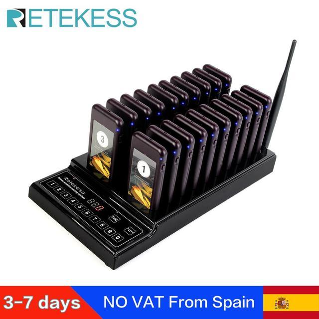 Retekess T112 ile restoran çağrı cihazı 20 çağrı alıcıları uzun menzilli restoran klinik kuyruk sistemi garson çağrı sistemi