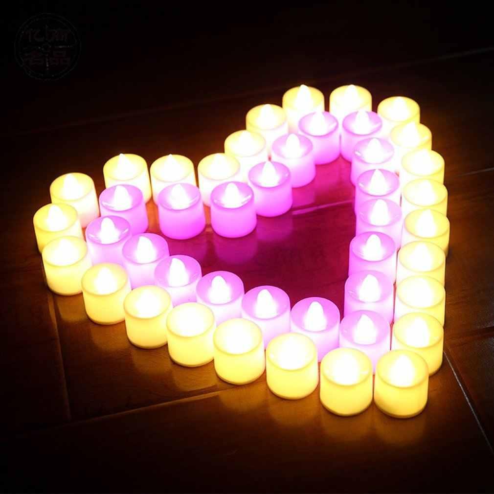 Có Thể Tái Sử Dụng Pin LED Flameless Nến Lãng Mạn Đầy Màu Sắc Cưới Sinh Nhật Tán Tỉnh Ánh Sáng Đèn