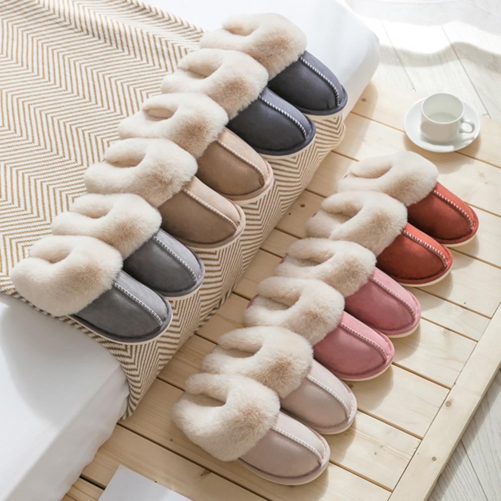 2020 New Women Indoor Slippers Warm Plush Home Slipper Anti Slip Autumn Winter Shoes House Floor Soft Slient Slides