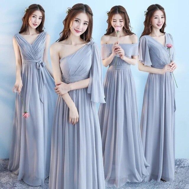 חדש 6 סגנון ורוד סומק שמלת לנשים סקסי שיפון שושבינה שמלות חתונה ללא משענת המפלגה שמלה ארוך גאלה שמלות אלגנטי אפור