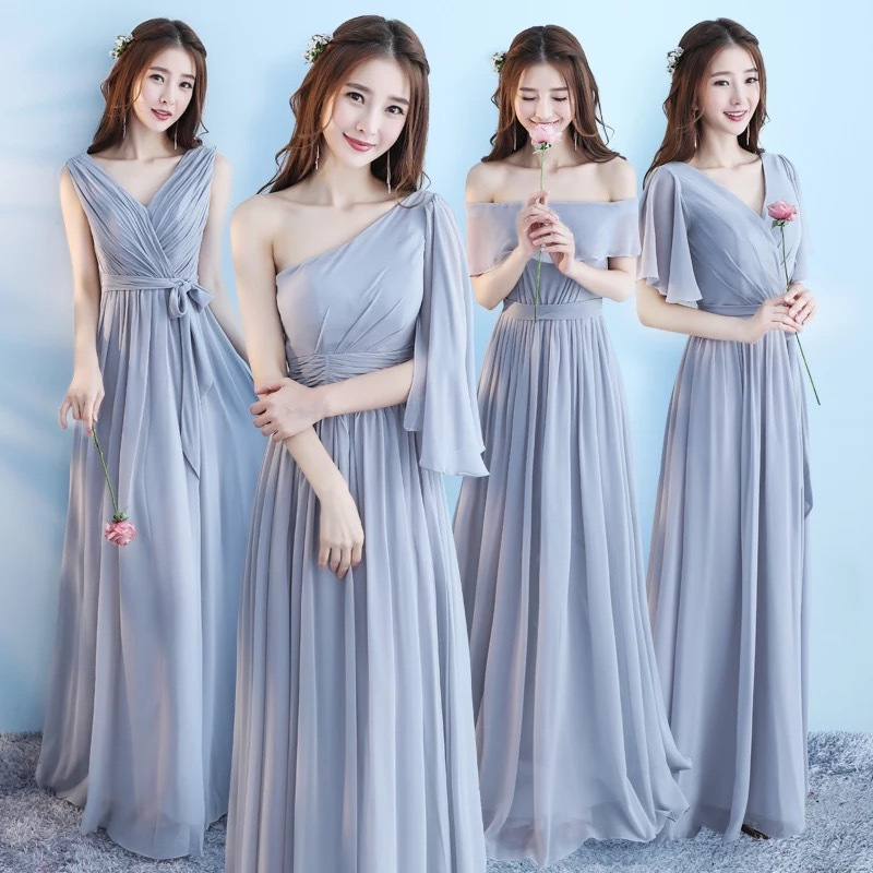 New 6 Style Pink Blush   Dress   For Women Sexy Chiffon   Bridesmaid     Dress   Backless Wedding Party   Dresses   Long Gala Gowns Elegant Gray