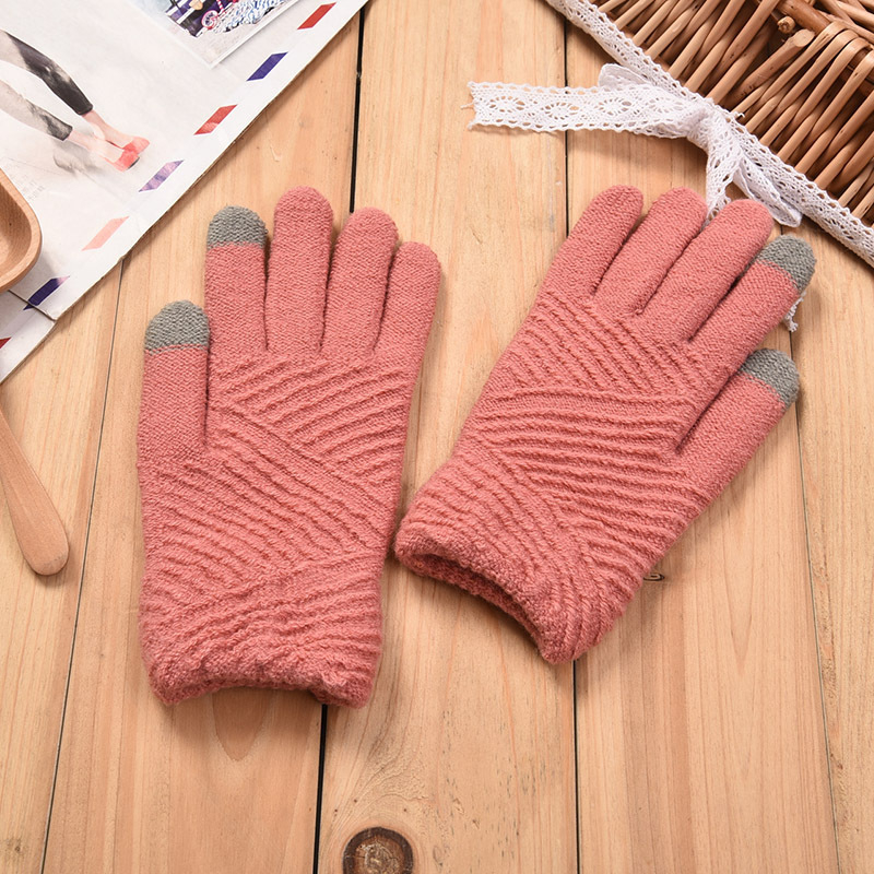 Women Gloves Winter Woolen Knitted Gloves Touch Screen Mittens Keep Warm Female Winter Full Finger Stripe Gloves Fashion Autumn
