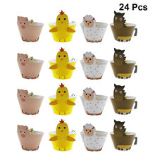 24pcs DIY Cartoon Animal Cupcake Wrappers Cake Paper Cups Cup Cake Liners 3d Dim Sum Stage Decoration With Accessories Cake Cup(China)