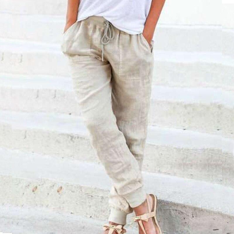 Solid Cotton Linen Women Pencil Pants 2020 Spring Casual Elastic High Waist Trousers Women Plus Size Drawstring Long Pants 3XL