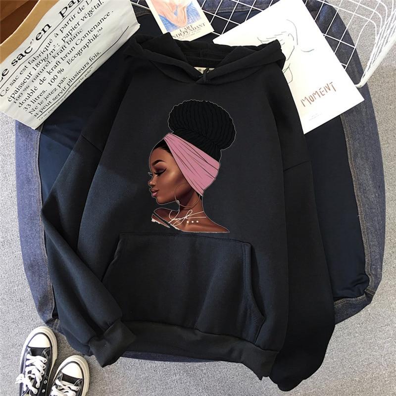 Melanin African Black Girls Hoodies Women Black Girls Magic Sweatshirt Femme Harajuku Jumper Kawaii Winter Clothes Streetwear